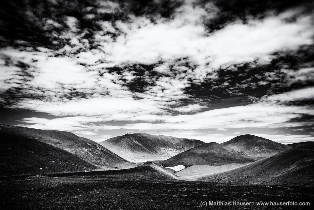 Iceland landscape black and white Namaskard mountains