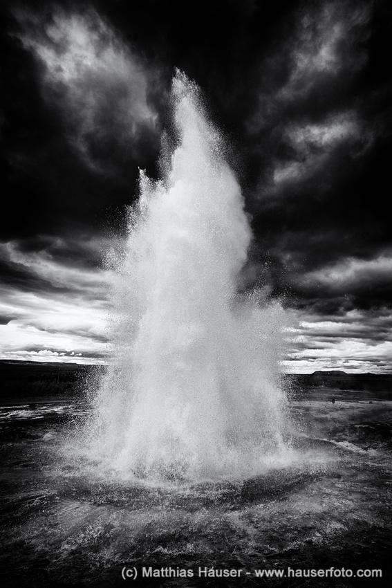 Geyser Geysir Strokkur Iceland black and white
