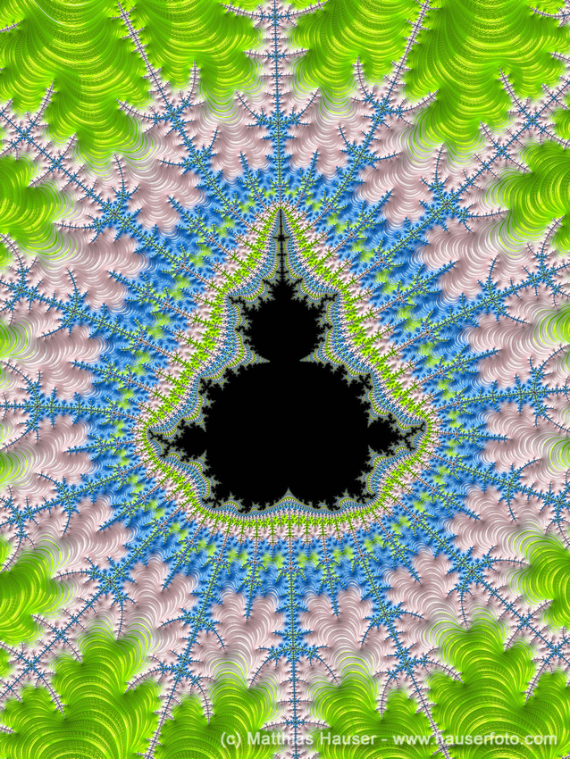 Mandelbrot Set Fractal Art black pink blue green
