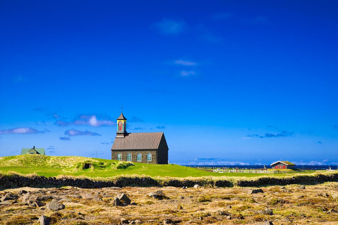Hvalsneskirkja church near Sangerdi in Reykjanes Iceland