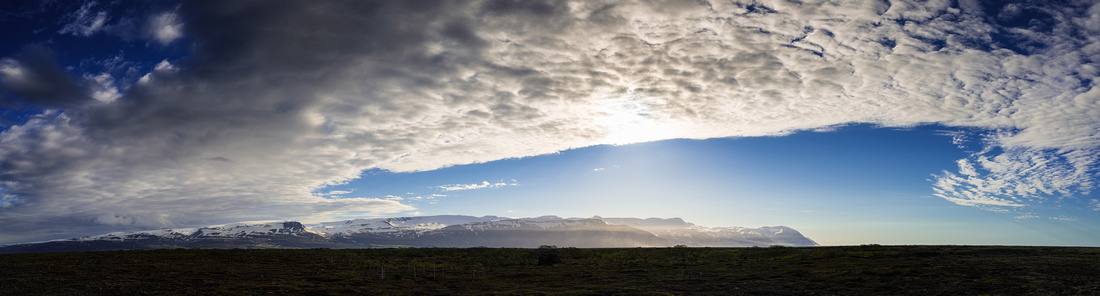 Mountains and sky with clouds - Iceland panorama