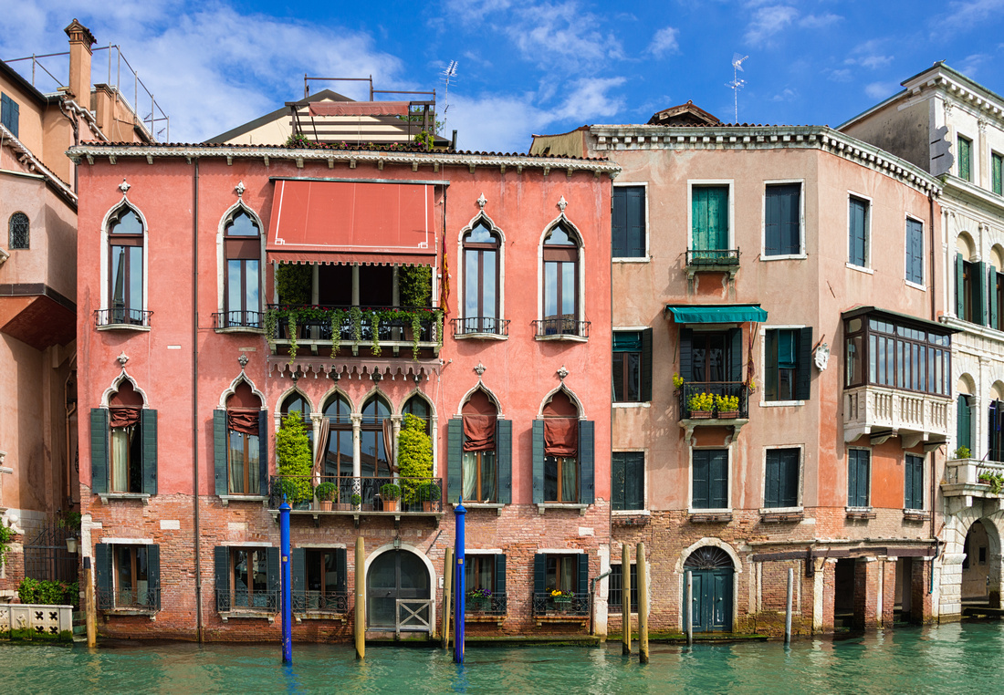 Colorful houses at Canal Grande in Venice
