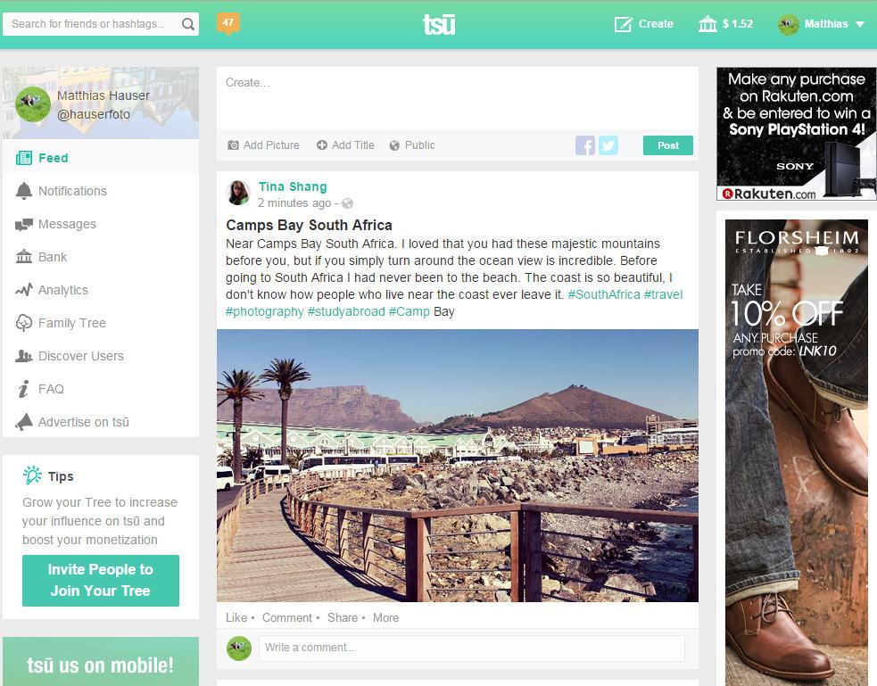 Screenshot of social network Tsu