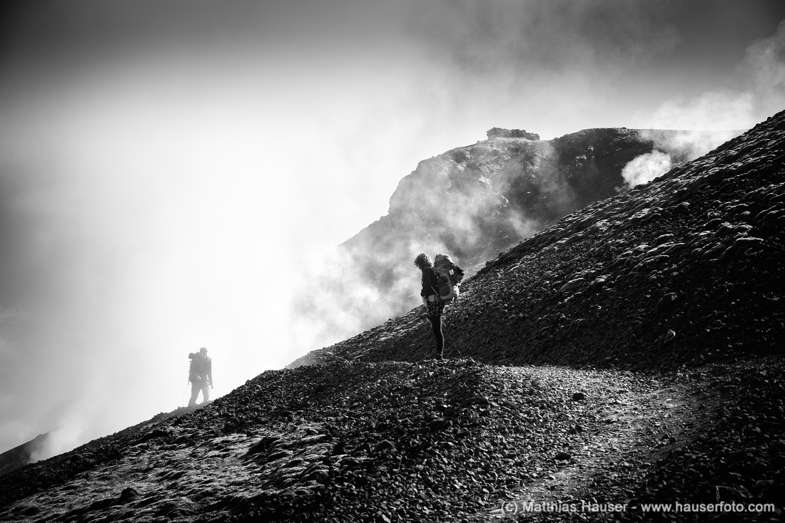 Hikers in Iceland black and white Photo