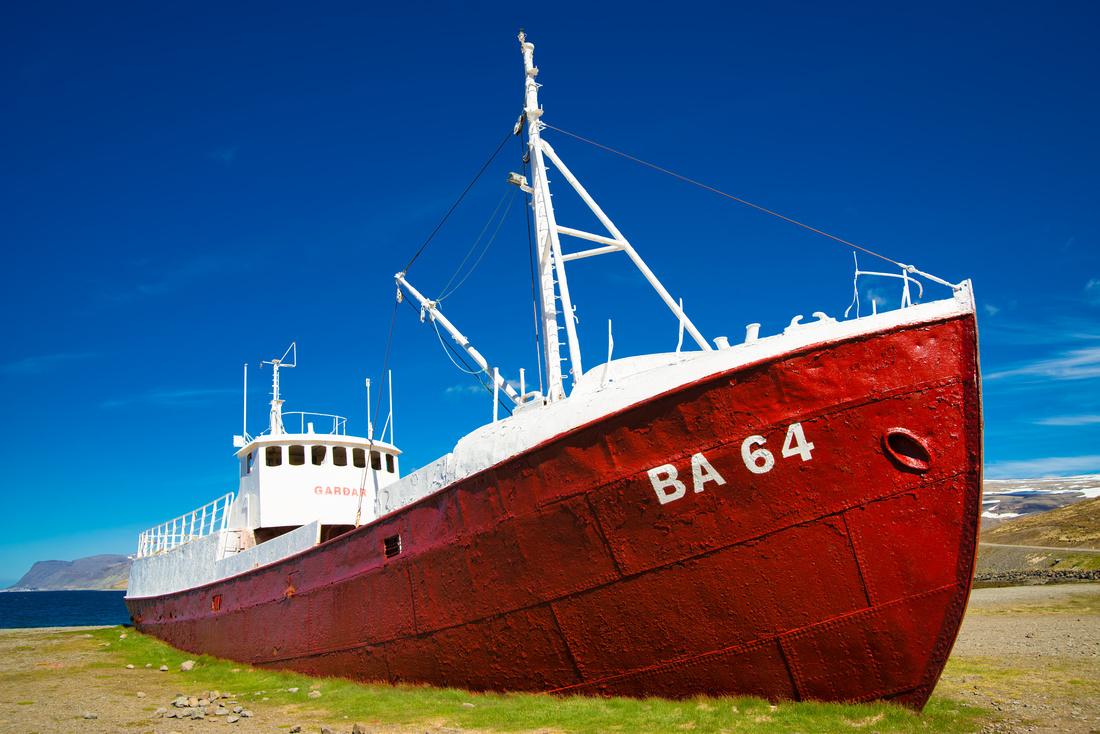 Ship wreck Gardar BA 64 Patreksfjordur West Fjords Iceland