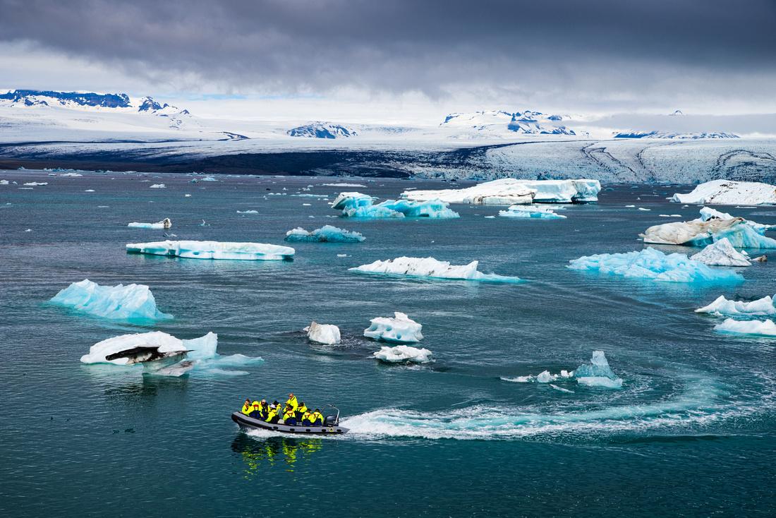 Jökulsárlón Glacier Lagoon in Iceland with boat