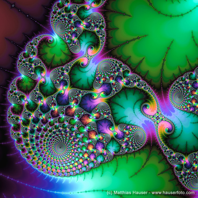 Fractal abstract spirals and leaves green purple