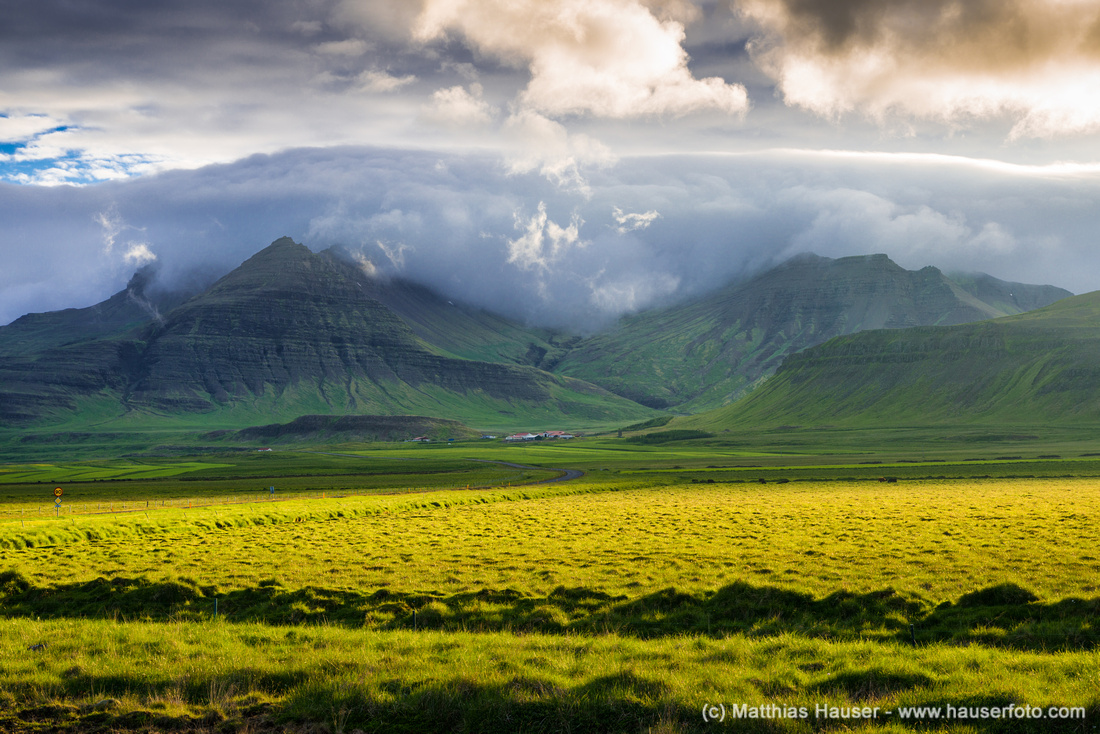 Landscape in Iceland with dramatic light