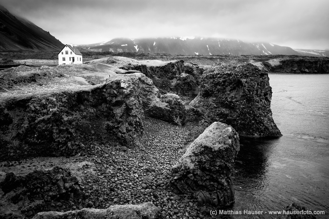 Arnarstapi coast Iceland black and white Fine Art Photography