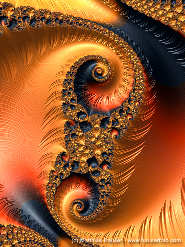 Fractal Spirals with warm orange and red tones.